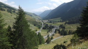 Looking down on the gentle lower slopes of the Agnel