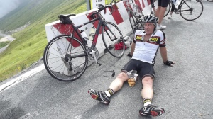 Chris exhausted atop the Agnel